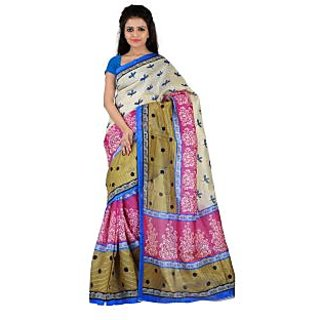 Florence White  Pink Bhagalpuri Silk Printed Saree (Fl-10766)
