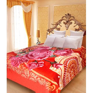 Akash Ganga Floral Double Bed Mink Blanket (BD35)