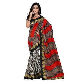 Florence Brown  Red Bhagalpuri Silk Printed Saree (Fl-10894)