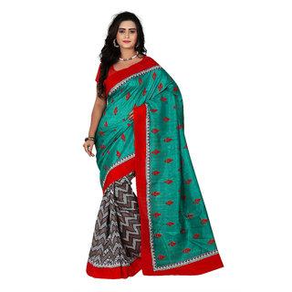 Florence Green Bhagalpuri Silk Printed Saree (Fl-10886)