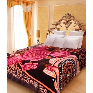 Akash Ganga Floral Double Bed Mink Blanket (BD37)