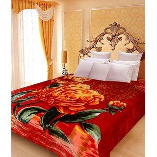 Akash Ganga Floral Double Bed Mink Blanket (BD38)
