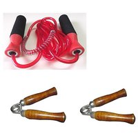 SKIPPING ROPE WITH BEARING + WOODEN HAND GRIPPERS X 1 PAIR..