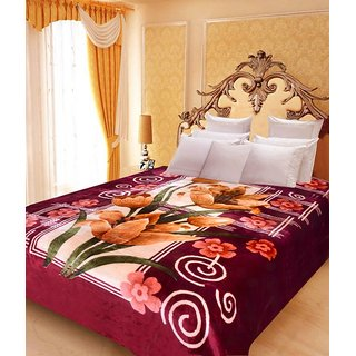 Akash Ganga Floral Double Bed Mink Blanket (BD42)