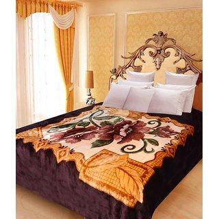 Akash Ganga Floral Double Bed Mink Blanket (BD44)