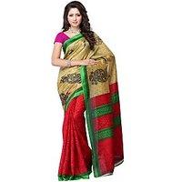 Fabdeal Brown Colored Bhagalpuri Printed Saree