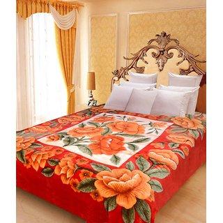 Akash Ganga Floral Double Bed Mink Blanket (BD46)