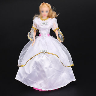 White Princess Wedding Gown Dress for Barbie Doll