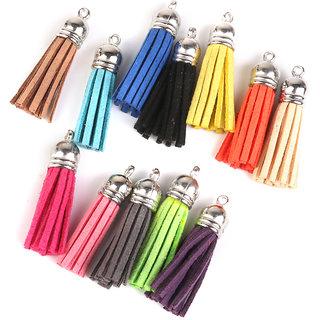 Velvet Tassel CharmPendants for Bags Key Chains DIY Decor 4cm 12Pcs Colorful