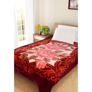 Akash Ganga Floral single Bed Mink Blanket (BLS03)