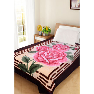 Akash Ganga Floral Single Bed Mink Blanket (BLS04)