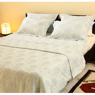 Stoa Paris White Jacquard 5pc King Bedsheet Set (7023WH)