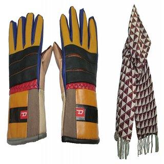 Super Plus Leather Driving Gloves + New Stylish Winter Muffler