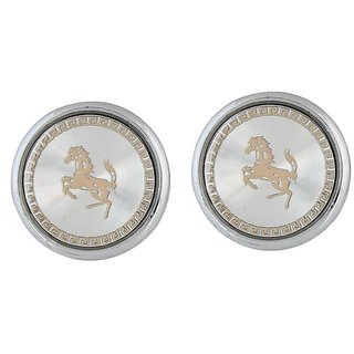 The Jewelbox Royal Chariot Gold Plated Horse Round Cufflink For Men