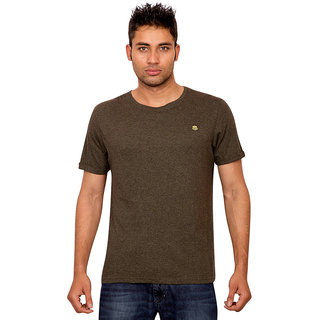 Forever Yoga Mens Solid Dark Green Round Neck T shirt