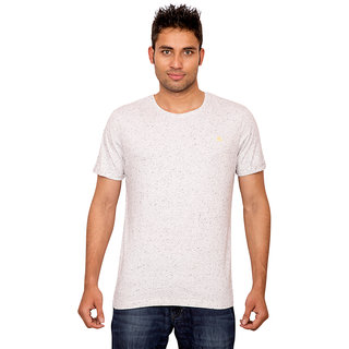 Forever Yoga Mens Solid White Round Neck T shirt