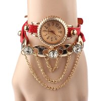 Red Leather Bracelet Rivet Bracelet Quartz Wrist Watch