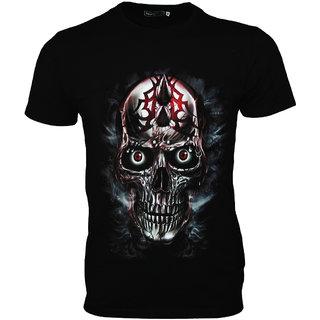 New Round Neck Glow In Dark Cotton  T shirt - Black - L size