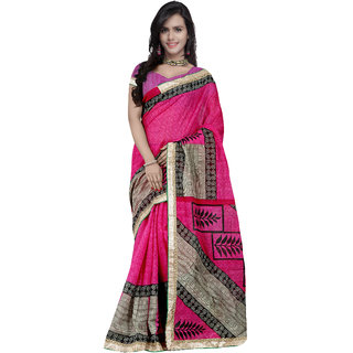 Prafful Magenta Bhagalpuri Silk Printed saree with unstitched blouse