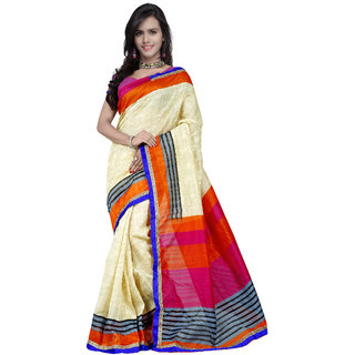 Prafful Cream and Orange Bhagalpuri Silk Printed saree with unstitched blouse