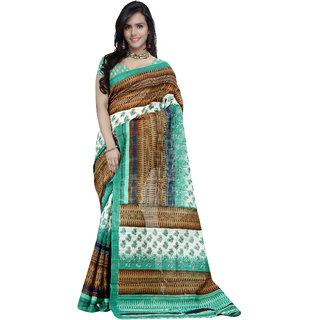 Prafful White and Brown Bhagalpuri Silk Printed saree with unstitched blouse