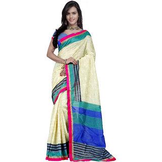 Prafful Cream and Sky Blue Bhagalpuri Silk Printed saree with unstitched blouse