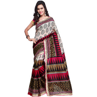 Prafful Cream and Magenta Bhagalpuri Silk Printed saree with unstitched blouse