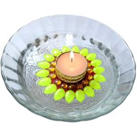 Decorated Florescent Green Floating Kundan Diya Tea Light Candle Holder