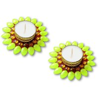 Decorated Florescent Green Floating Kundan Diya Tea Light Candle- Set Of 2