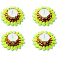 Decorated Florescent Green Floating Kundan Diya Tea Light Candle - Set Of 4