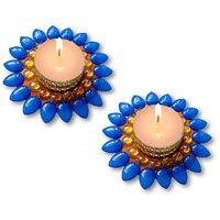 Decorated Florescent Blue Floating Kundan Diya Tea Light Candle - Set Of 2