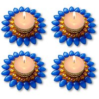 Decorated Florescent Blue Floating Kundan Diya Tea Light Candle - Set Of 4