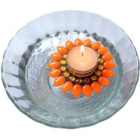 Decorated Florescent Orange Floating Kundan Diya Tea Light Candle Holder