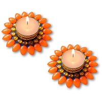 Decorated Florescent Orange Floating Kundan Diya Tea Light Candle - Set Of 2