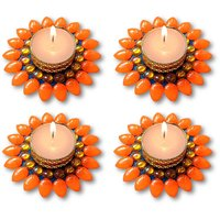 Decorated Florescent Orange Floating Kundan Diya Tea Light Candle - Set Of 4