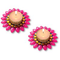 Decorated Florescent Pink Floating Kundan Diya Tea Light Candle - Set Of 2