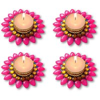 Decorated Florescent Pink Floating Kundan Diya Tea Light Candle - Set Of 4
