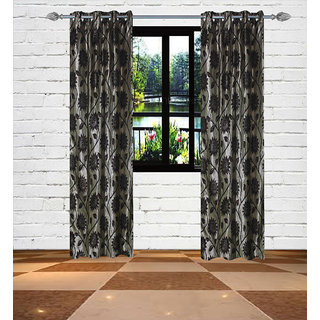 Gaurav Curtains Gold Touch Sun Flower design polyster curtain 2pcs