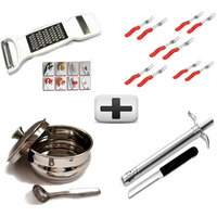 3 In 1 Slicer +10 Pcs Fork Set + Ghee Pot With Lid And Spoon + Lighter + Knife