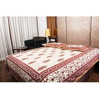 Pure Cotton Multicolor Traditional Design Sanganeri Print Double Bedsheet