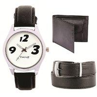 Combo Of Watch Wallet  Belt ( TW-15 ,black Wallet Belt)