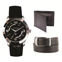Combo Of Watch Wallet  Belt (TW-07, Black Belt  Wallet)