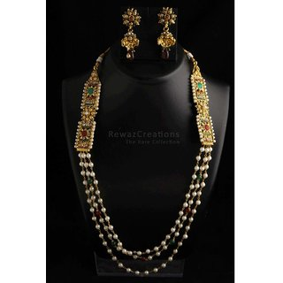 Polki Side Pendent Both Side With Pearl String In Between With Jhumkas Option-2