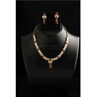 Small Kundan Necklace Set With Earrings Maroon Color
