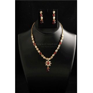 Small Kundan Necklace Set With Earrings Red Color