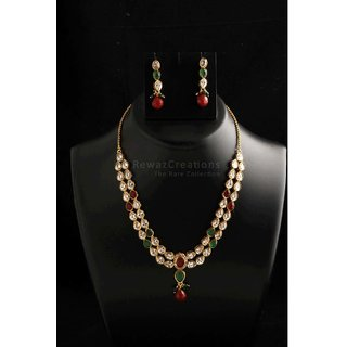 Two Line Kundan Necklace Set With Earrings Multi Color Option-1