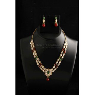 Two Line Kundan Necklace Set With Earrings Multi Color Option-2