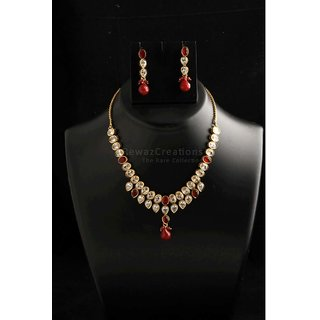 Two Line Kundan Necklace Set With Earrings Red Color