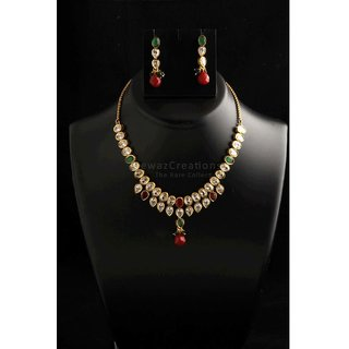 Two Line Kundan Necklace Set With Earrings Multi Color Option-3