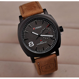 New Fashion Curren Branded Wristwatch Leather Strap Military Watch